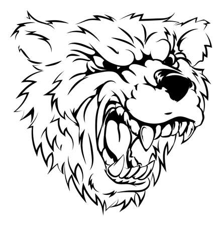 A black and white illustration of a fierce bear animal character or sports mascot Vector