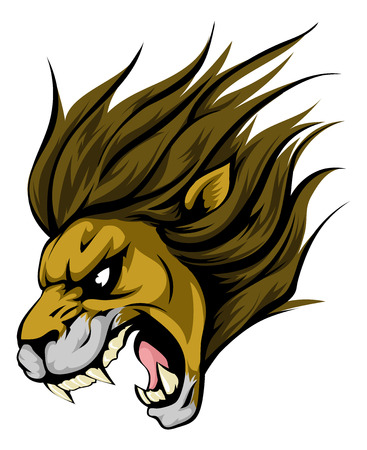 roar: An illustration of a fierce lion animal character or sports mascot