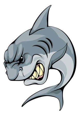 hostile: An illustration of a fierce shark animal character or sports mascot