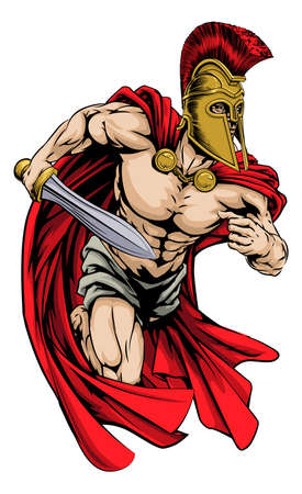 centurion: An illustration of a warrior character or sports mascot  in a trojan or Spartan style helmet holding a sword  Illustration