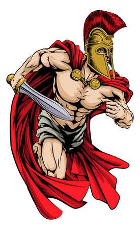 cascos romanos: Una ilustración de un guerrero personaje o mascota de los deportes en un casco de estilo troyano o espartano que sostiene una espada