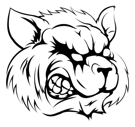 fierce: A black and white illustration of a fierce raccoon animal character or sports mascot Illustration