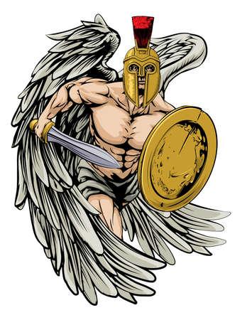 cartoon warrior: Un esempio di un guerriero carattere angelo o sport mascotte in un casco stile trojan o Spartan in possesso di una spada e scudo Vettoriali