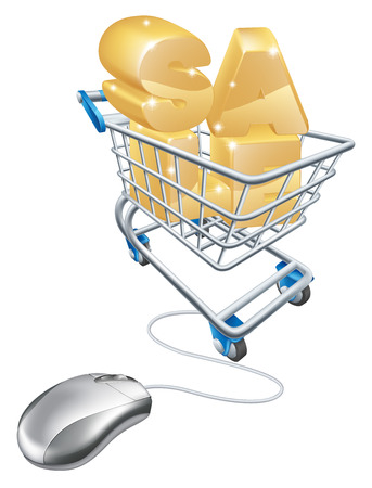 troley:  online internet sale concept of a computer mouse connected to a shopping trolley containing the word sale