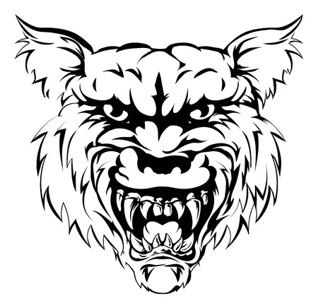 snarling: A black and white illustration of a fierce wolf animal character or sports mascot Illustration