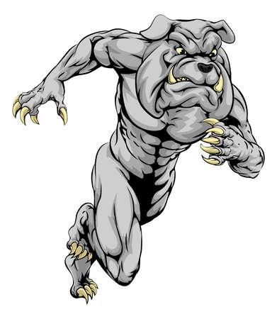 british bulldog: A bulldog man character or sports mascot charging, sprinting or running Illustration