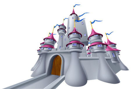 An illustration of a cartoon fantasy fairytale medieval castle Vector