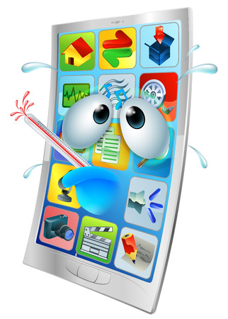 cartoon bug: Sick cartoon mobile phone, cartoon of an unwell mobile phone with a bursting thermometer in its mouth.   Illustration