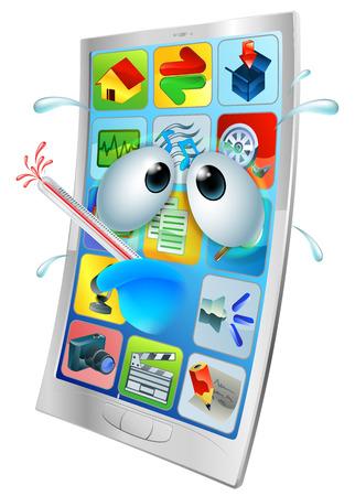 telefono caricatura: Teléfono Enfermo de dibujos animados móvil, dibujo animado de un teléfono móvil malestar con un termómetro que estalla en la boca.