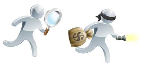 A detective person with magnifying glass chasing an escaping thief with a money sack and torch Vector