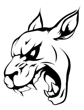 A black and white illustration of a fierce wildcat, panther or puma animal character or sports mascot Vector