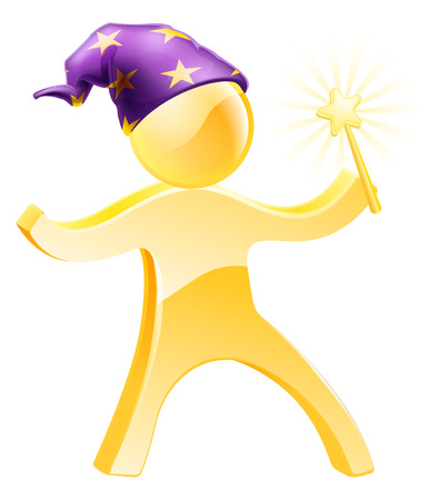 Cartoon wizard holding a wand and wearing a purple hat with stars Vector