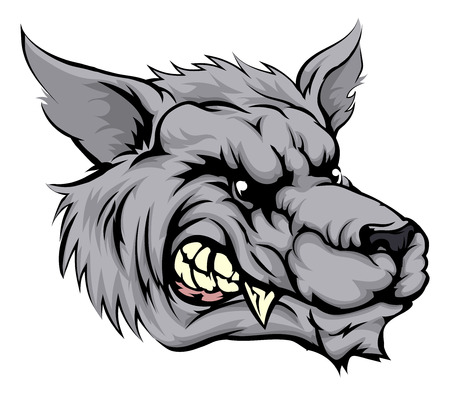 wolf head: An illustration of a fierce wolf animal character or sports mascot
