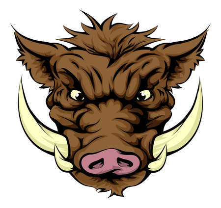 snarling: A tough boar animal character or sports mascot