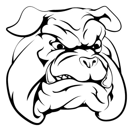 english: A black and white illustration of a fierce bulldog animal character or sports mascot