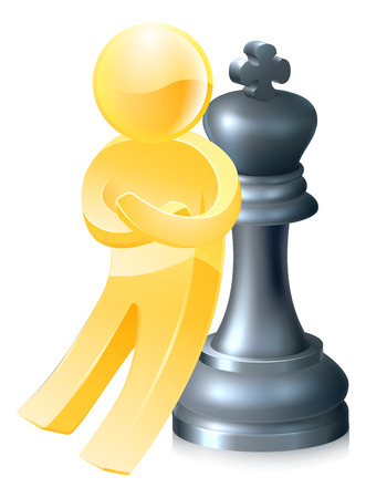 A gold figure leaning on a king chess piece with arms folded.  Concept for success Vector