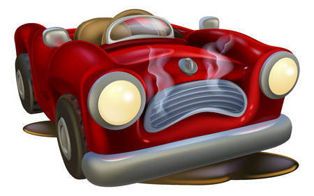 An illustration of a cute broken down cartoon car  Vector