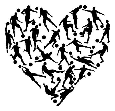 Soccer heart concept of lots of football or soccer players in the shape of a heart Illustration