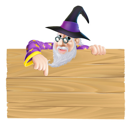 Cartoon wizard wooden sign drawing of a carton wizard and sign Vector