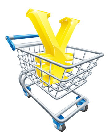 supermarket shopping cart: Yen concepto trolley moneda de Yen firma en un carro de supermercado o carro Vectores