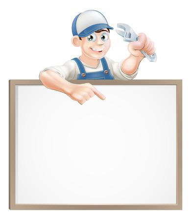 cartoon mensen: Een loodgieter of monteur met een verstelbare sleutel of dopsleutel en gluren over een bord en wijst