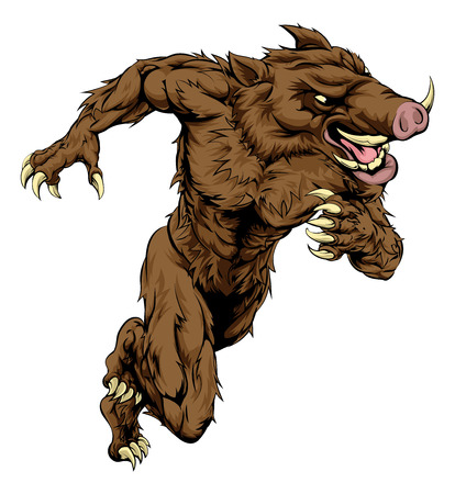 A boar man character or sports mascot charging, sprinting or running Vector