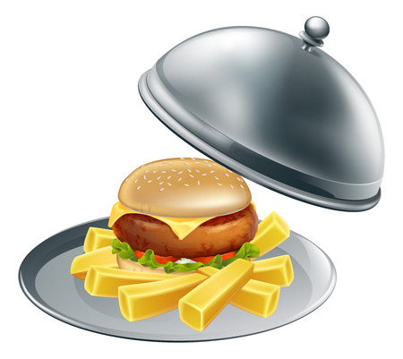 cloche: An illustration of burger and chips on a silver serving platter