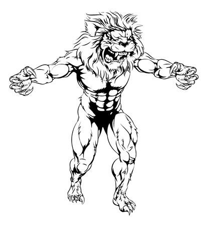 An illustration of a Lion scary sports mascot with claws out Vector