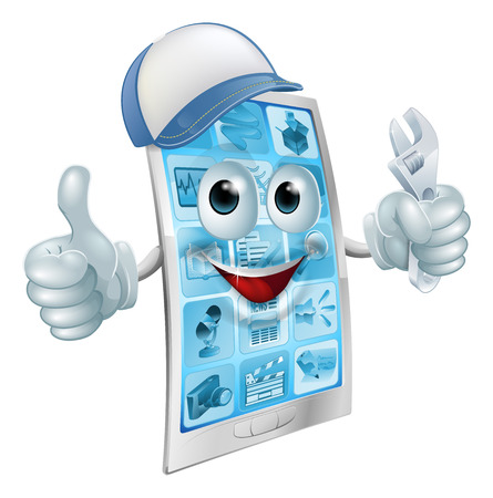 holding smart phone: A cartoon mobile phone repair mascot with a cap and spanner doing a thumbs up