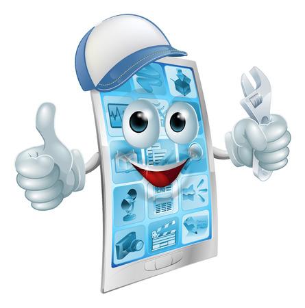 repair man: Un m�vil de dibujos animados de la mascota de reparaci�n de tel�fonos con una tapa y llave haciendo un pulgar hacia arriba