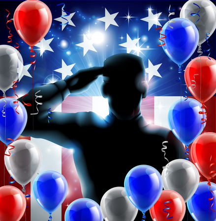 Patriotic soldier or veteran saluting in front of an American flag veterans day background with red white and blue balloons and streamers Vector