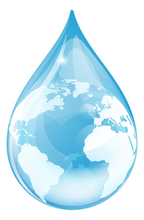 Water drop earth globe environmental concept. An illustration of a water drop with a globe inside.  Vector