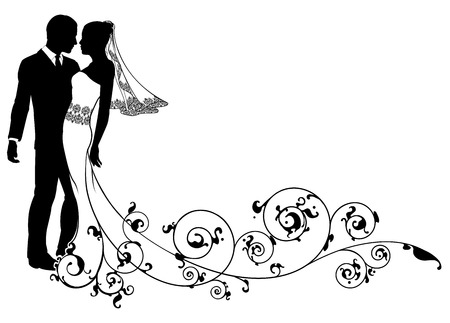 wedding dress silhouette: A  bride and groom dancing or about to kiss on their wedding day with floral swirls