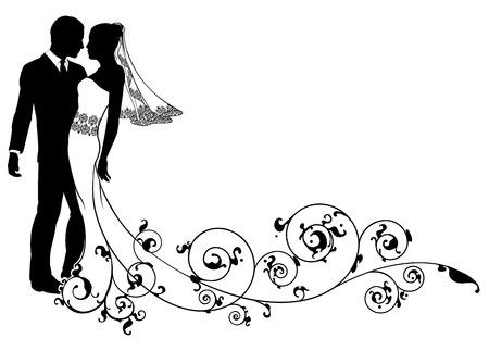 pareja de esposos: Una novia y el novio bailando o punto de besar el día de su boda con remolinos florales Vectores