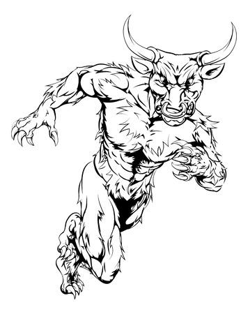 A bull man minotaur character or sports mascot charging, sprinting or running Vector