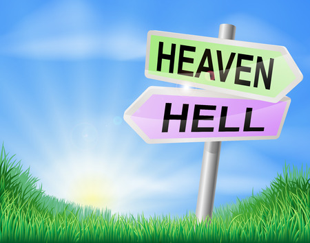 Heaven or hell sign concept with a choice to make Vector