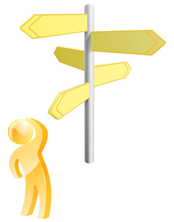 way of thinking: Hard choices concept of a gold person looking at arrow signs making up his mind