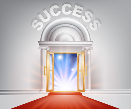work popular: Success door concept of a fantastic white marble door with columns and a red carpet with light streaming through it. Illustration