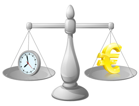 Time money balance scales, with a clock representing time on one side and Euro sign on the other. Could represent work life balance or making best use of time, working smarter not harder. Vector