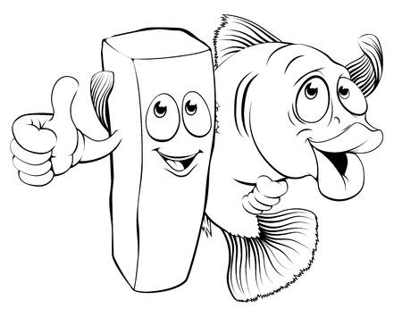 An illustration of fish and chips mascot characters arm in arm giving thumbs up
