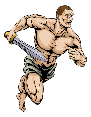 An illustration of a warrior or gladiator man character or sports mascot holding a sword Vector