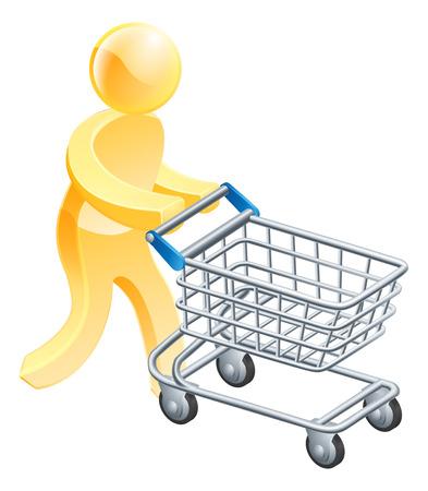 supermarket shopping cart: Hombre de oro Carro de compra, una persona mascota oro empujando un carro de supermercado