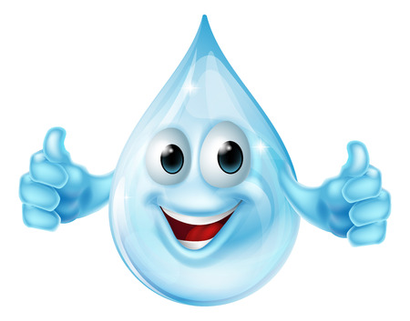 An illustration of a cartoon water drop mascot character giving a thumbs up Vector