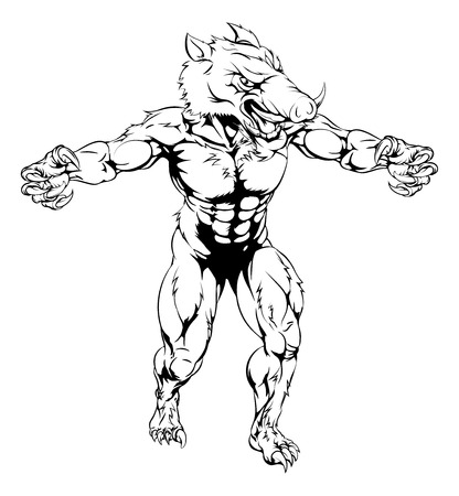 snarling: An illustration of a Boar scary sports mascot with claws out