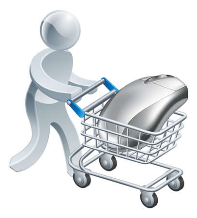 trolly: A person pushing a computer mouse in a cart or trolley online internet shopping concept