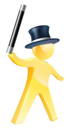 Magician gold person illustration of mascot figure waving a wand and wearing a top hat Vector