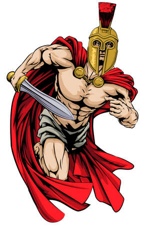 An illustration of a warrior character or sports mascot  in a trojan or Spartan style helmet holding a sword  Vector