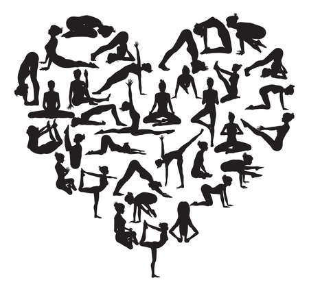 A heart shape made from silhouettes in yoga or pilates poses Vector