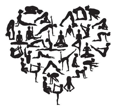 position d amour: Une forme de coeur fait de silhouettes en yoga ou de pilates poses
