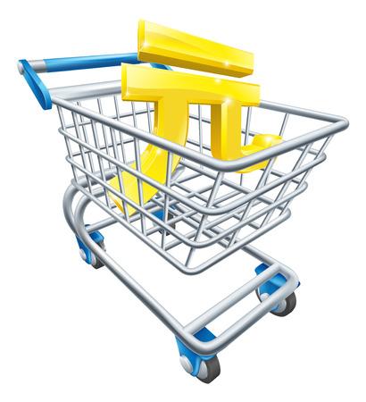 supermarket shopping cart: Yuan concepto trolley moneda de Yuan signo en un carro de supermercado o carro